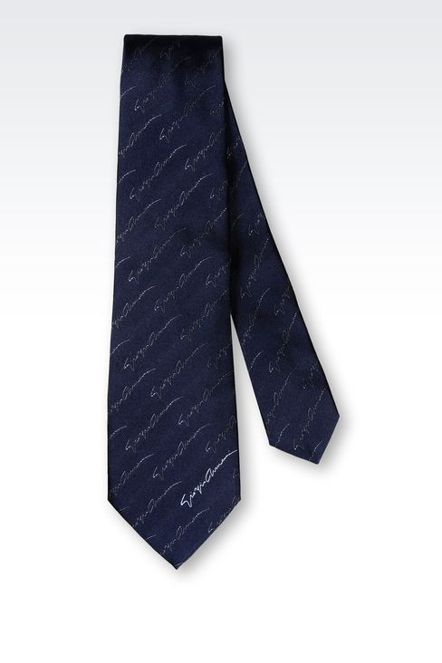 SILK TIE WITH LOGO PATTERN: Ties Men by Armani - 2