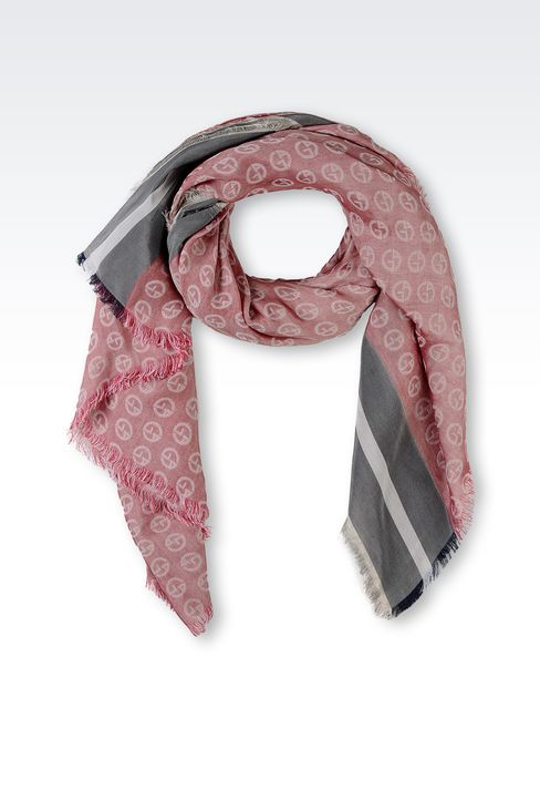 ALL-OVER LOGO COTTON AND SILK SCARF: Foulards Men by Armani - 1