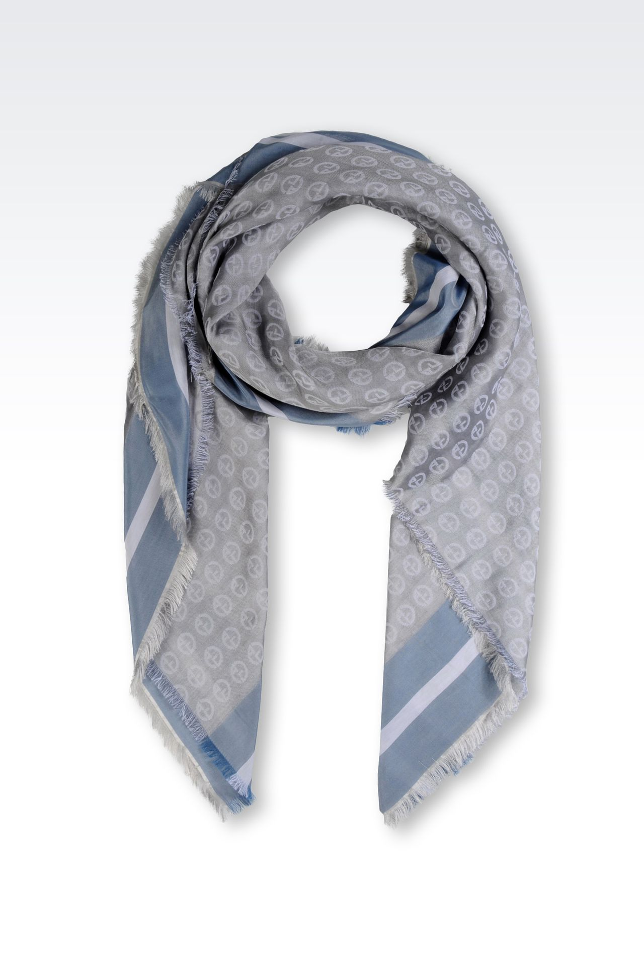 ALL-OVER LOGO COTTON AND SILK SCARF: Foulards Men by Armani - 0