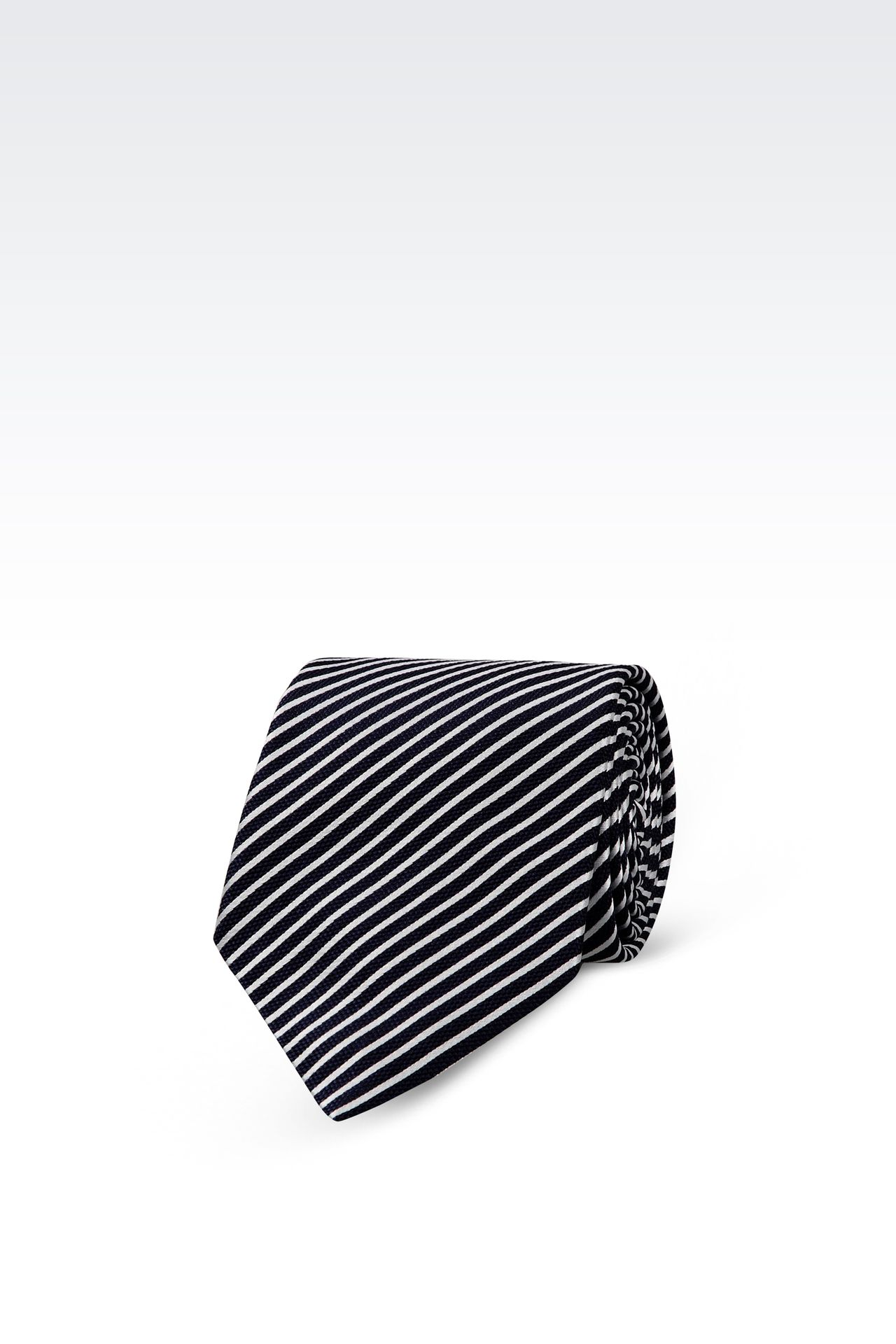 BI-COLOR STRIPED SILK TIE: Ties Men by Armani - 0