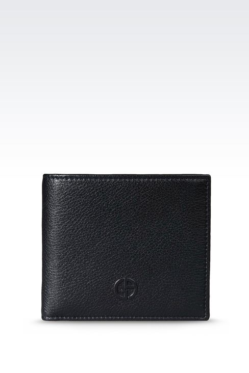 BI-FOLD WALLET IN LEATHER WITH COIN PURSE: Wallets Men by Armani - 1