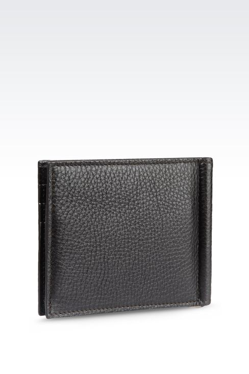 BI-FOLD CALFSKIN WALLET WITH CLIP: Wallets Men by Armani - 2