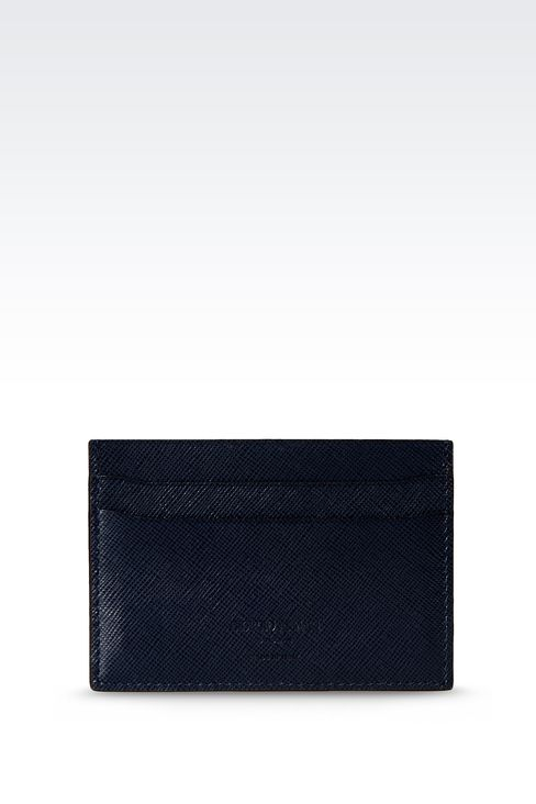 LEATHER CREDIT CARD HOLDER WITH LOGO: Card holders Men by Armani - 1