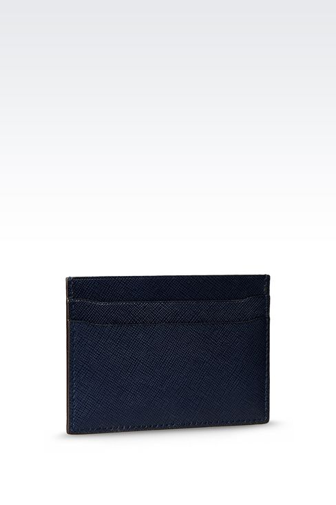 LEATHER CREDIT CARD HOLDER WITH LOGO: Card holders Men by Armani - 2