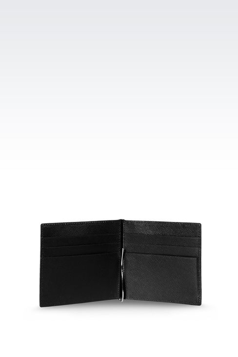 BI-FOLD LEATHER WALLET WITH CLIP : Wallets Men by Armani - 3