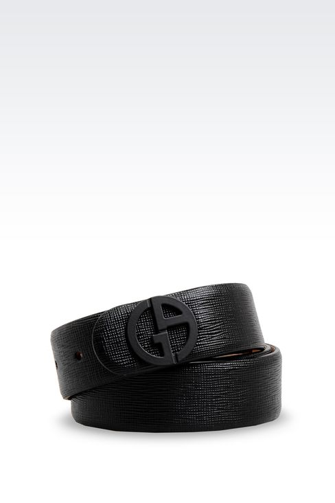 LEATHER BELT WITH PATENT EFFECT LOGO : Leather belts Women by Armani - 1