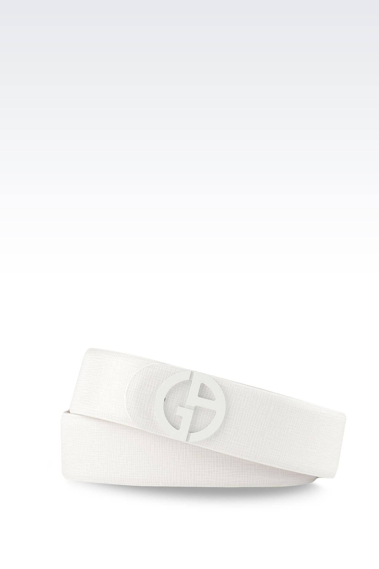 LEATHER BELT WITH PATENT EFFECT LOGO : Leather belts Women by Armani - 0