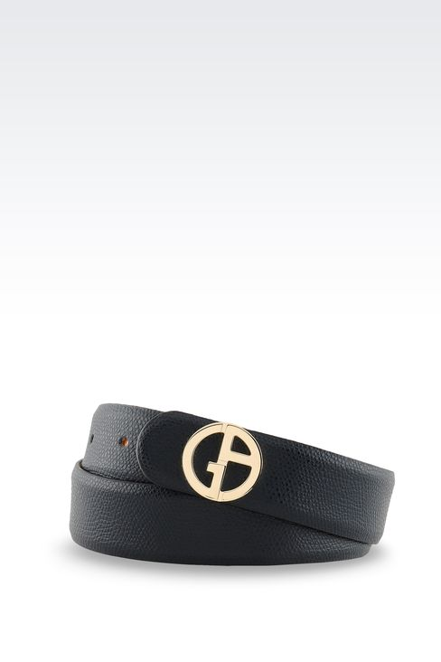 PRINTED LEATHER BELT WITH LOGOED BUCKLE : Leather belts Women by Armani - 1