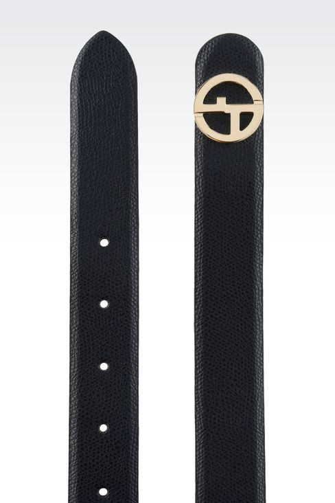 PRINTED LEATHER BELT WITH LOGOED BUCKLE : Leather belts Women by Armani - 2