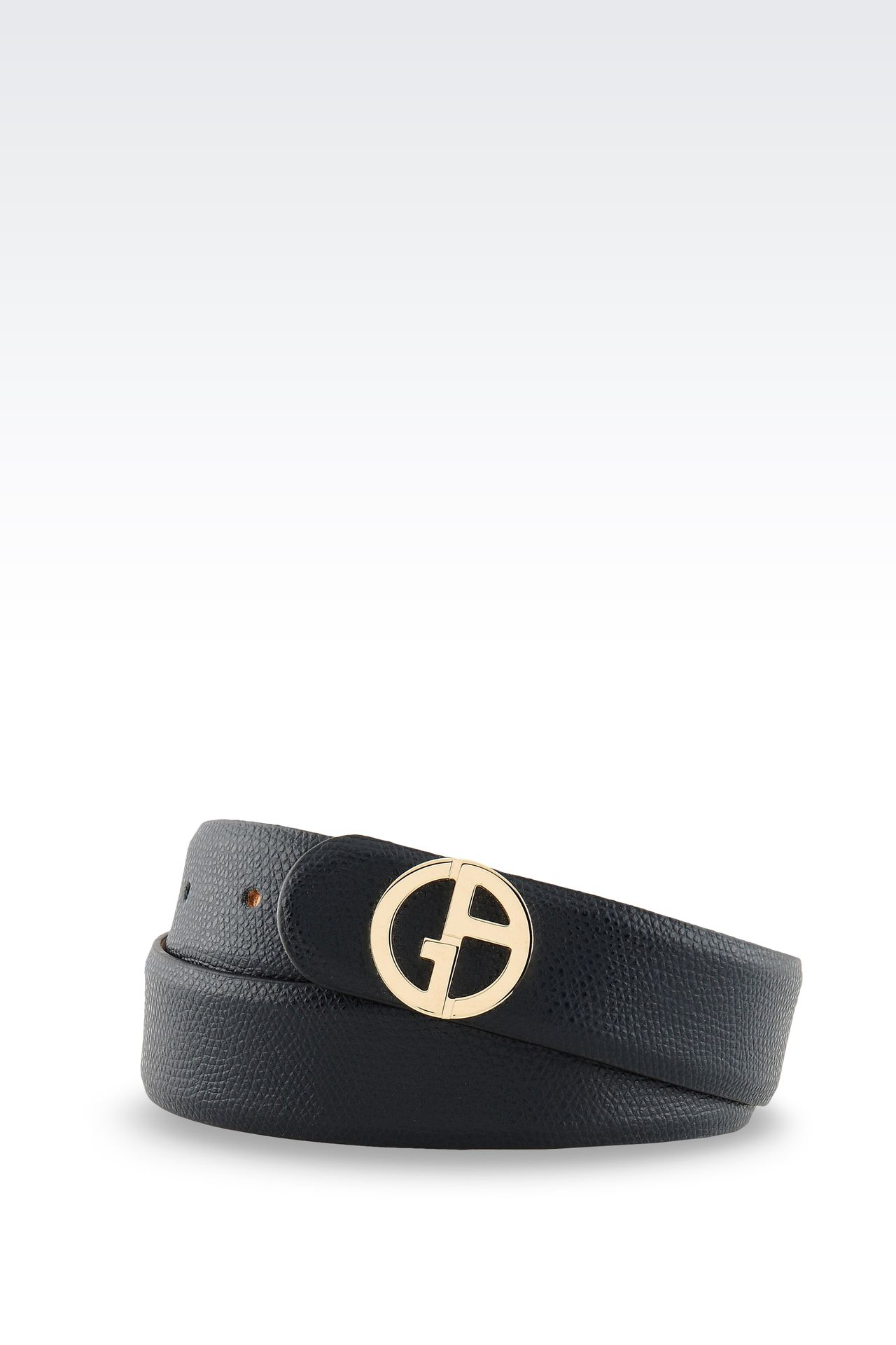 PRINTED LEATHER BELT WITH LOGOED BUCKLE : Leather belts Women by Armani - 0