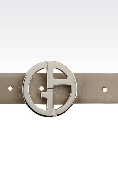 LEATHER BELT WITH LOGOED BUCKLE: Leather belts Women by Armani - 3