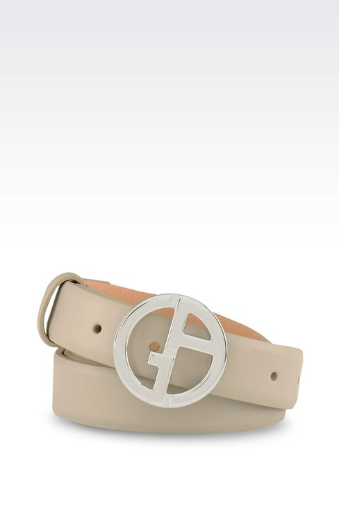 LEATHER BELT WITH LOGOED BUCKLE: Leather belts Women by Armani - 1