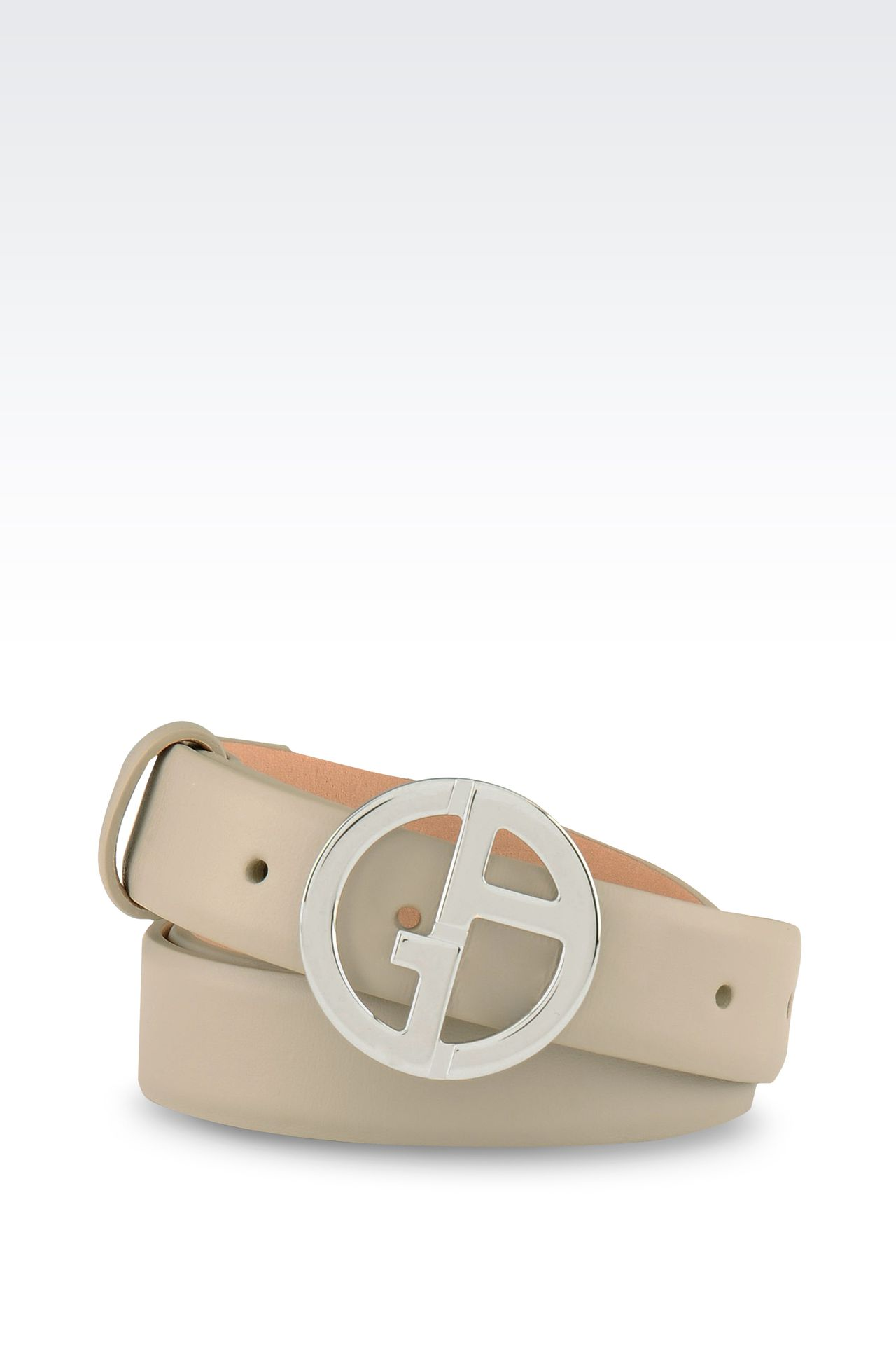 LEATHER BELT WITH LOGOED BUCKLE: Leather belts Women by Armani - 0