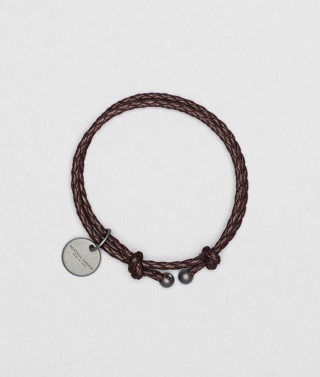 BOTTEGA VENETA Armband aus Nappaleder Intrecciato Ebano Weiteres Leder Accessoire E fp