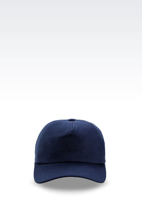 COTTON BASEBALL CAP WITH EMBROIDERED LOGO: Hats with visor Men by Armani - 1