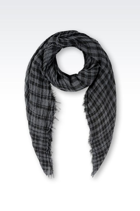 LINEN SCARF WITH CHECK PATTERN: Foulards Men by Armani - 1