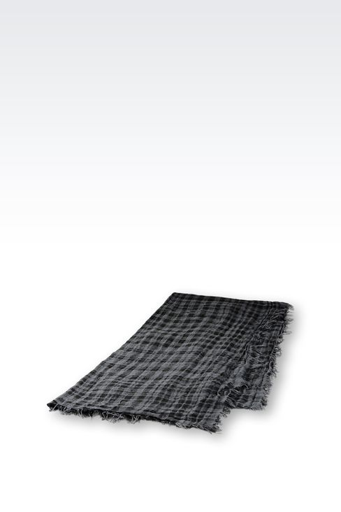 LINEN SCARF WITH CHECK PATTERN: Foulards Men by Armani - 2