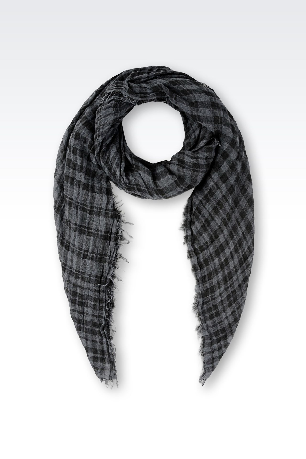 LINEN SCARF WITH CHECK PATTERN: Foulards Men by Armani - 0