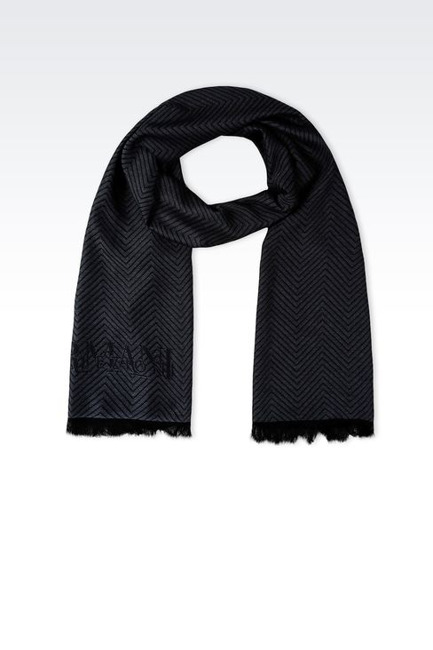 JACQUARD VISCOSE SCARF WITH CHEVRON DESIGN: Scarves Men by Armani - 1
