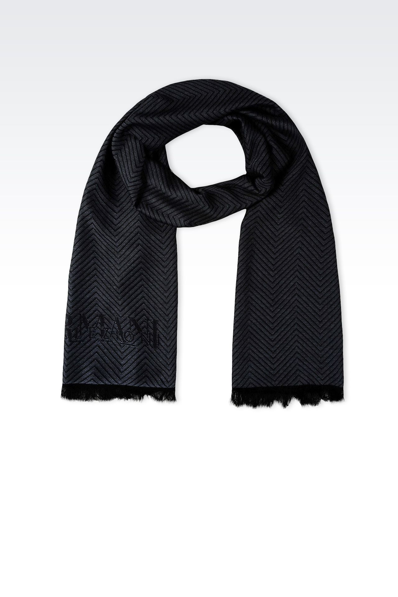 JACQUARD VISCOSE SCARF WITH CHEVRON DESIGN: Scarves Men by Armani - 0