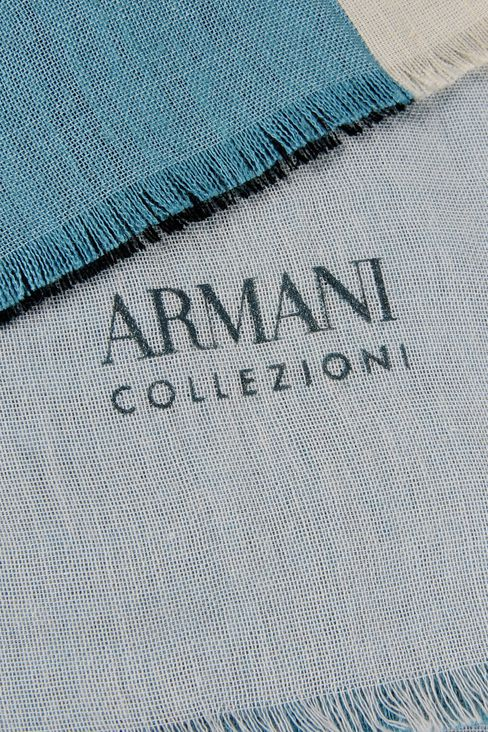 COLOUR BLACK SCARF IN LINEN BLEND: Scarves Men by Armani - 3