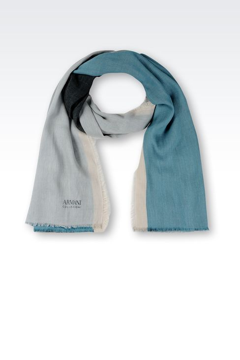 COLOUR BLACK SCARF IN LINEN BLEND: Scarves Men by Armani - 1
