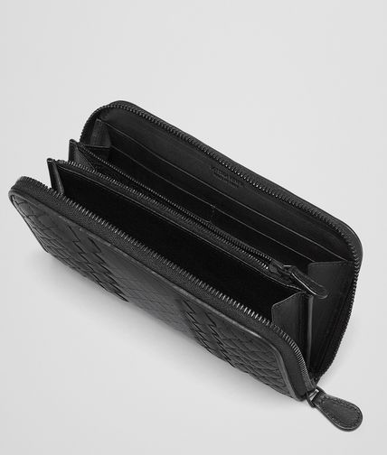 BOTTEGA VENETA - Nero Intreccio Imperatore Zip Around Wallet