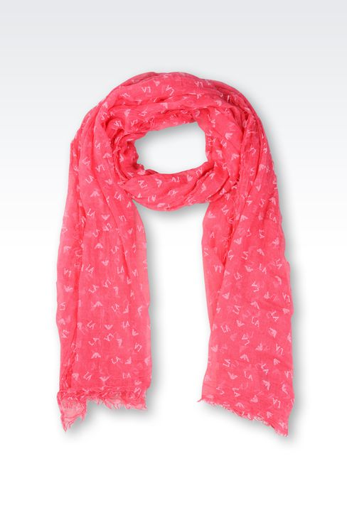 FLOCK PRINT SCARF WITH ALL OVER LOGO: Stoles Women by Armani - 1