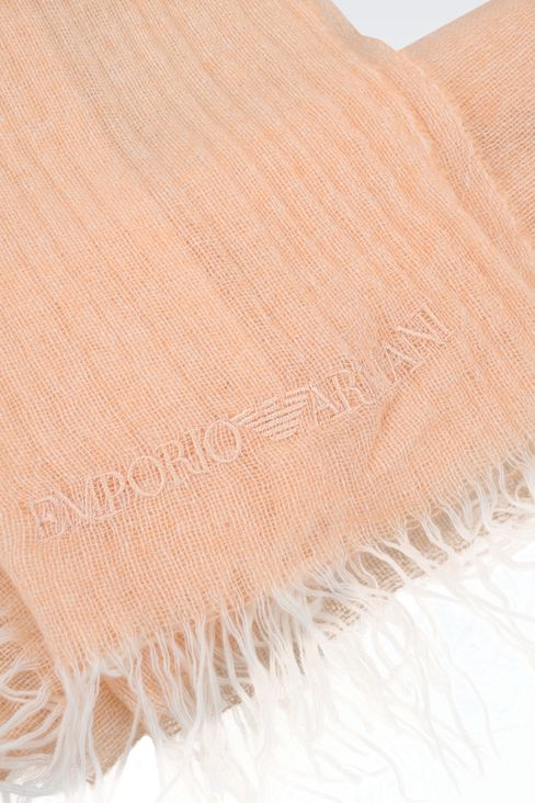 CASHMERE STOLE WITH LOGO: Scarves Women by Armani - 3