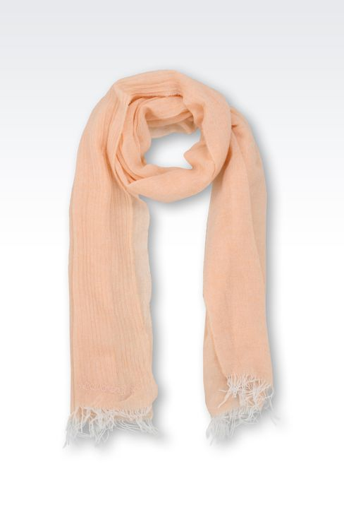 CASHMERE STOLE WITH LOGO: Scarves Women by Armani - 1