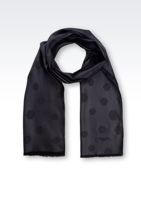 SILK SCARF WITH JACQUARD HEXAGON MOTIF: Scarves Men by Armani - 1