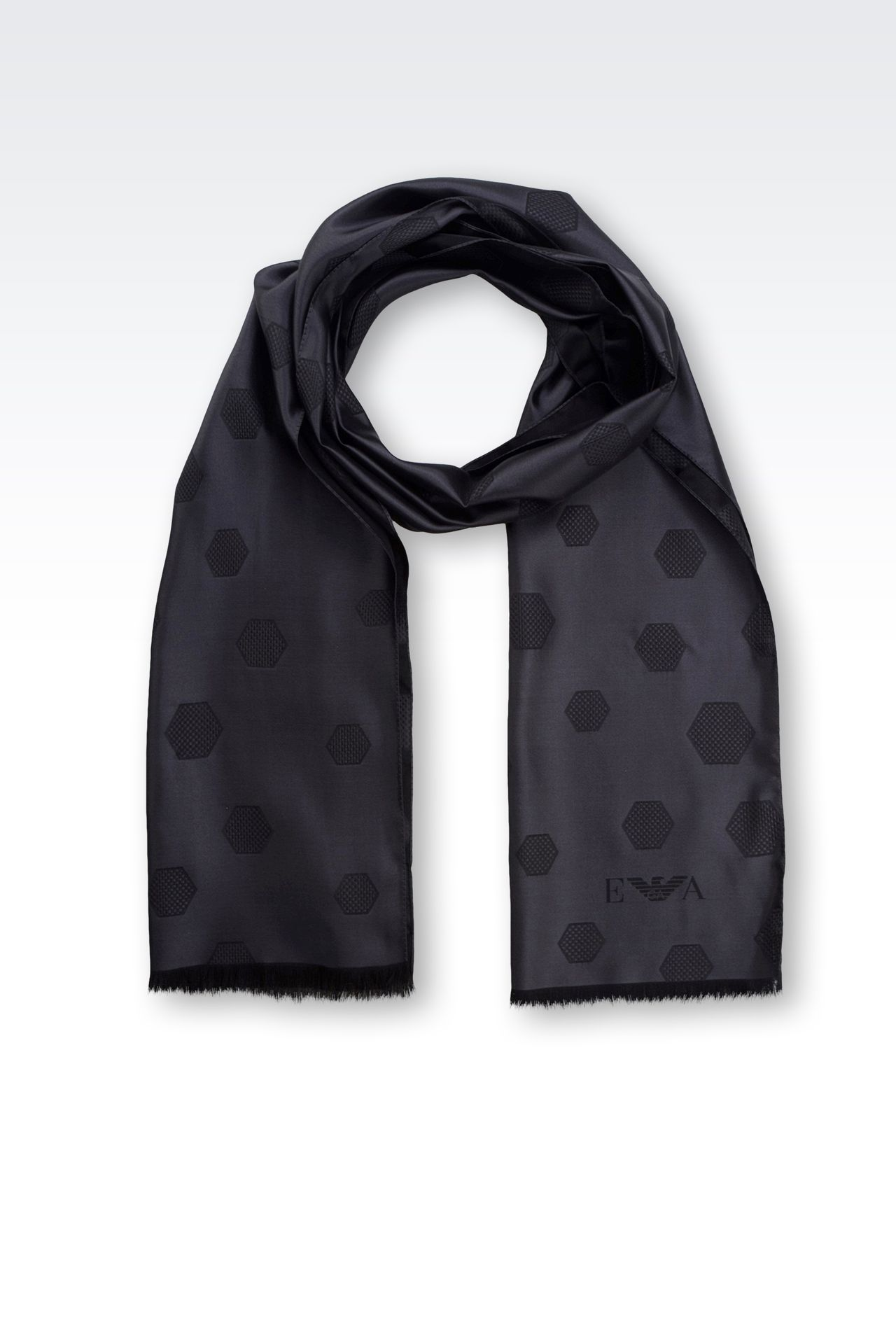 SILK SCARF WITH JACQUARD HEXAGON MOTIF: Scarves Men by Armani - 0