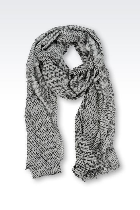 MODAL STOLE WITH JACQUARD MOTIF: Scarves Men by Armani - 1
