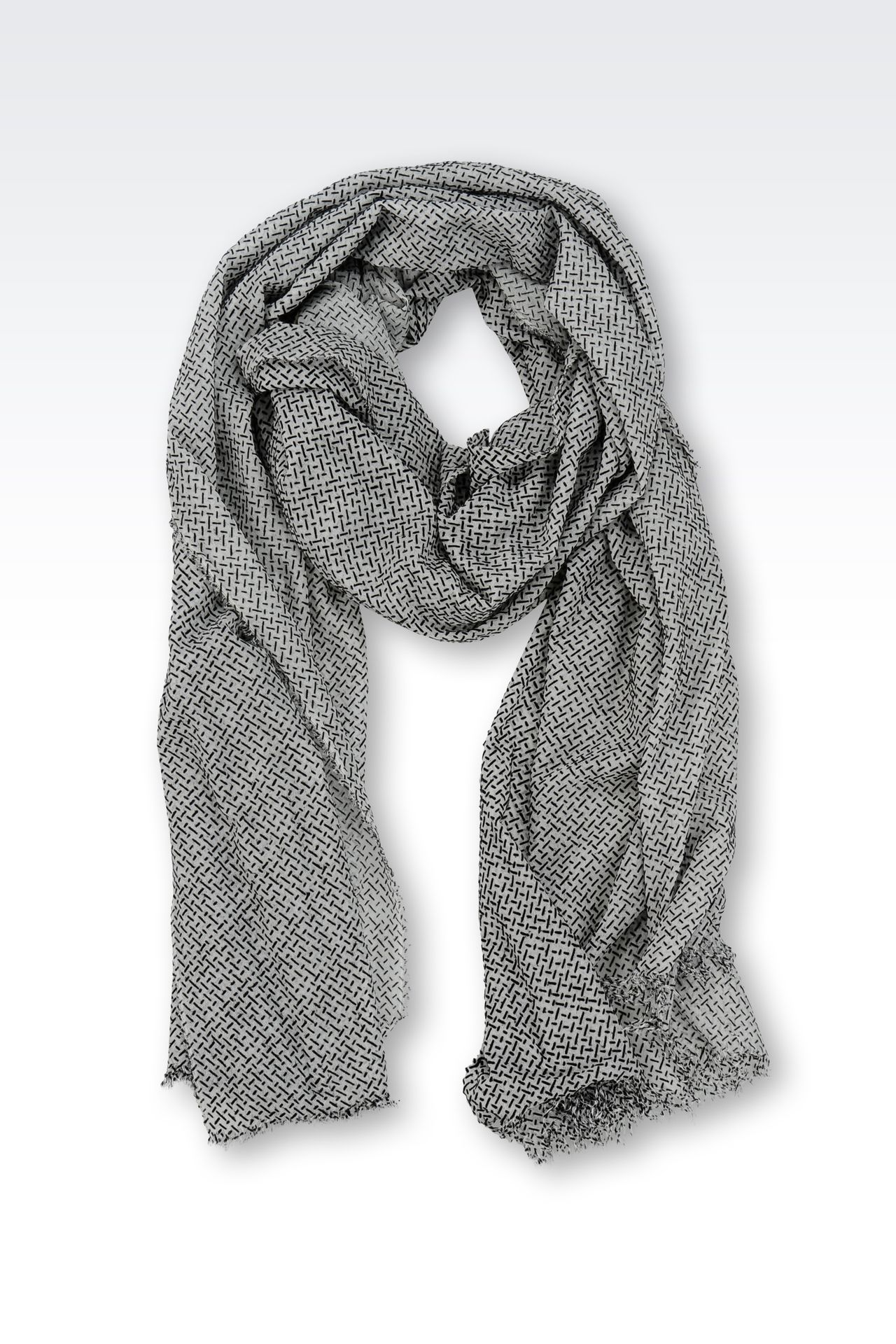 MODAL STOLE WITH JACQUARD MOTIF: Scarves Men by Armani - 0