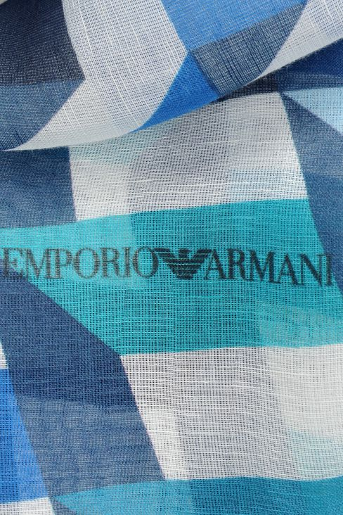 STRIPED LINEN/MODAL STOLE: Scarves Men by Armani - 3