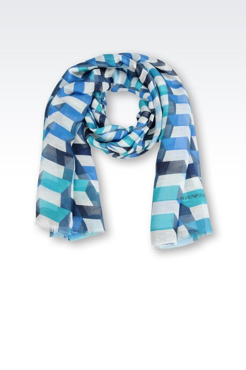 STRIPED LINEN/MODAL STOLE: Scarves Men by Armani - 1
