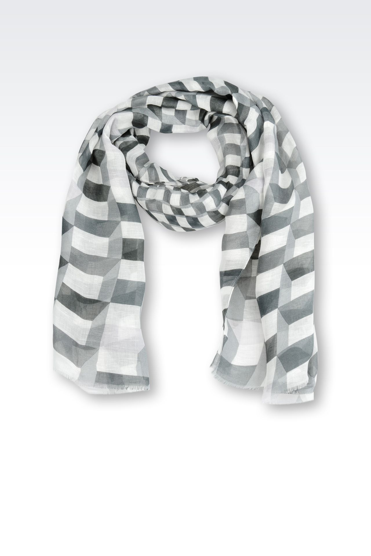 STRIPED LINEN/MODAL STOLE: Scarves Men by Armani - 0
