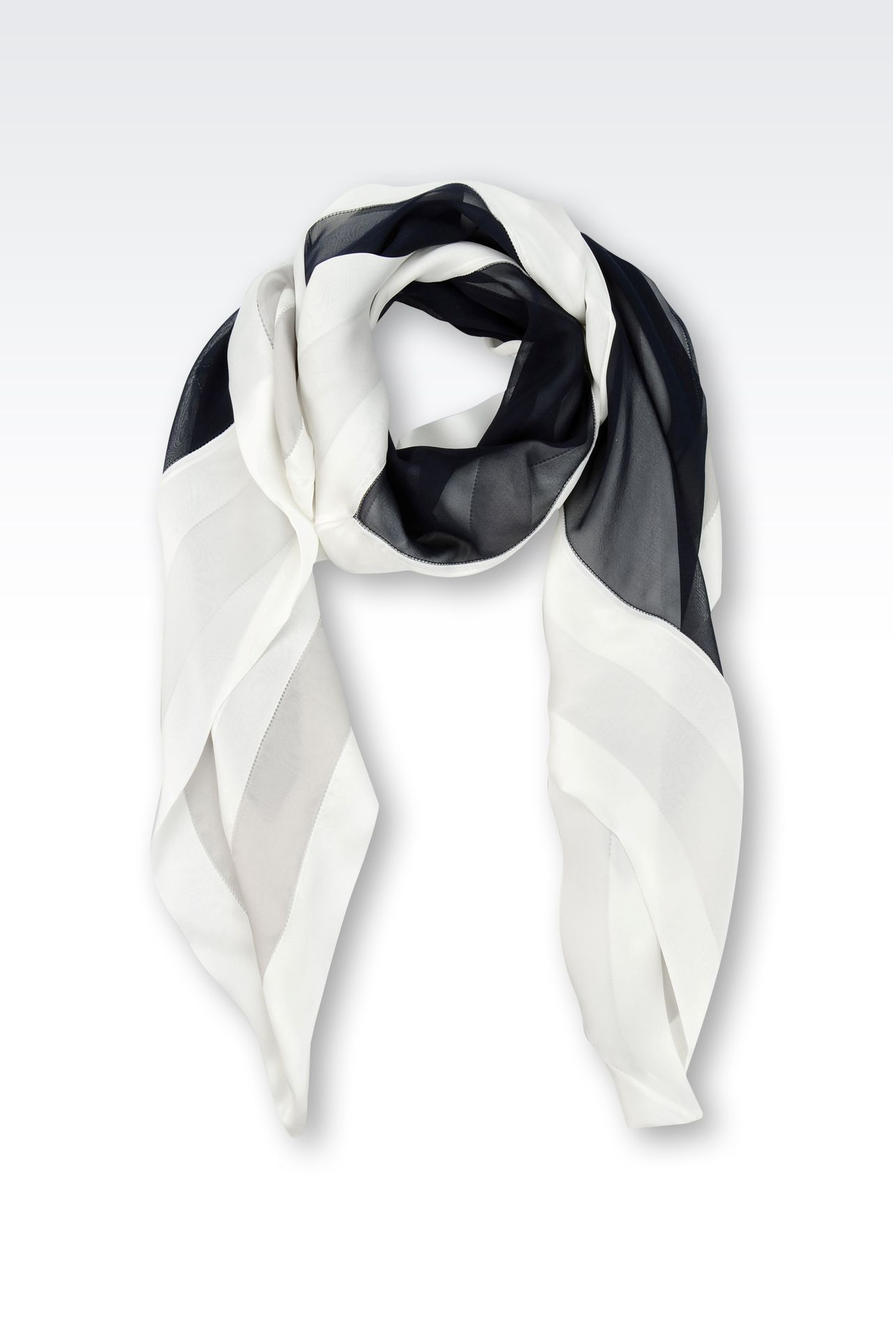SILK SCARF WITH MULTICOLOUR PATTERN: Foulards Women by Armani - 0