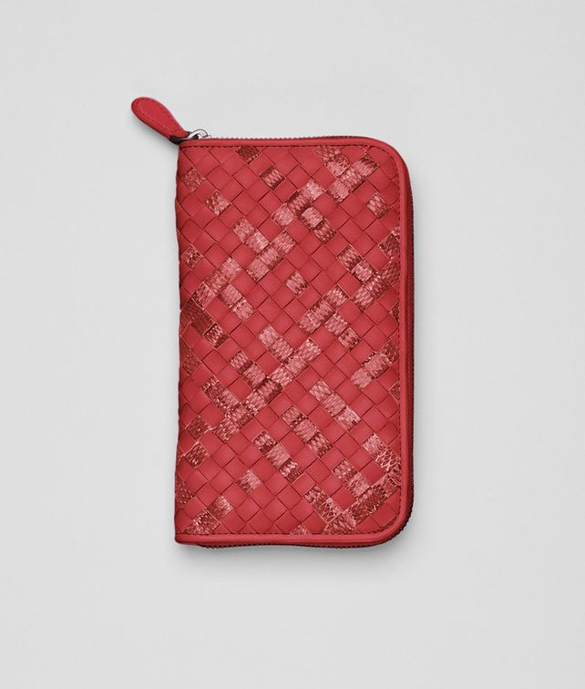 Fraise Intrecciato Ayers Nappa Zip Around Wallet