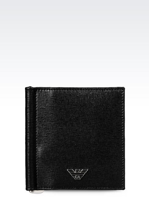 BI-FOLD WALLET IN SAFFIANO CALFSKIN WITH MONEY CLIP: Wallets Men by Armani - 1