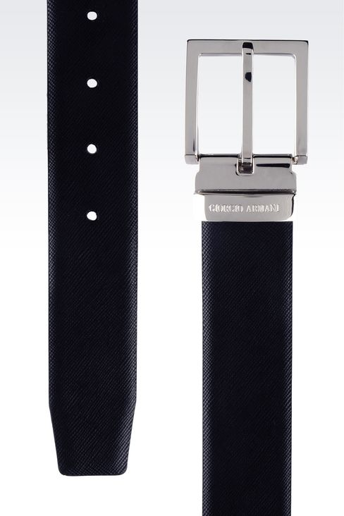 REVERSIBLE CALFSKIN BELT: Leather belts Men by Armani - 2
