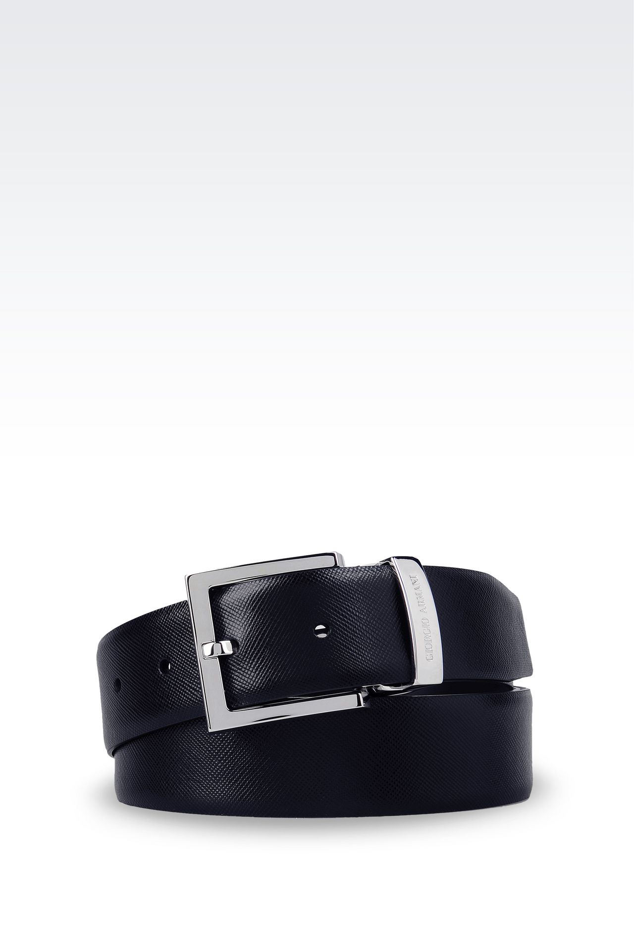 REVERSIBLE CALFSKIN BELT: Leather belts Men by Armani - 0