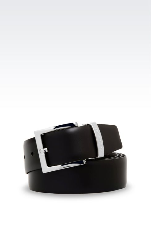REVERSIBLE CALFSKIN BELT: Leather belts Men by Armani - 4