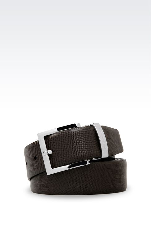 REVERSIBLE CALFSKIN BELT: Leather belts Men by Armani - 1