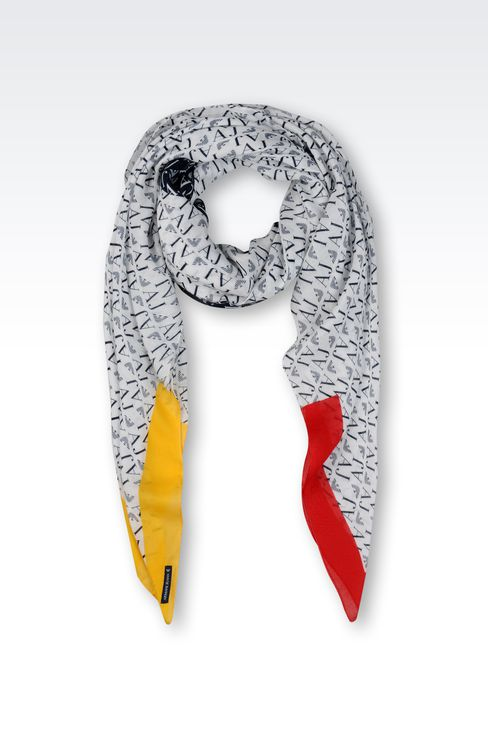 MODAL AND CASHMERE SCARF WITH ALL OVER LOGO PATTERN: Foulards Women by Armani - 1