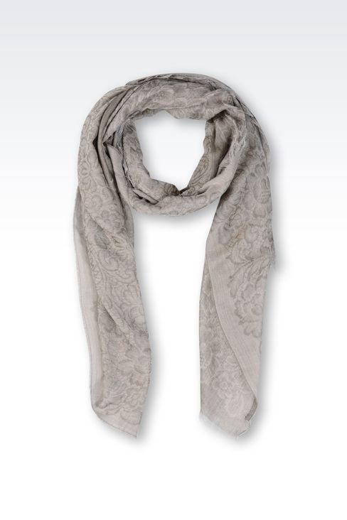 SCARF IN JACQUARD COTTON BLEND: Foulards Women by Armani - 1