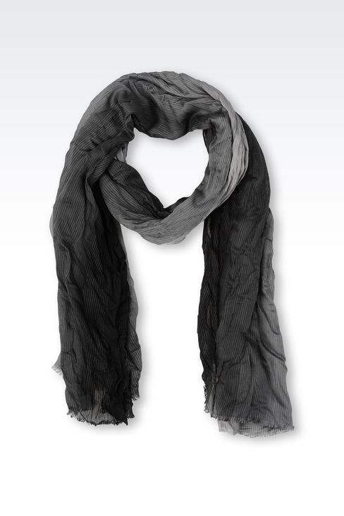 STRIPED VISCOSE STOLE: Scarves Men by Armani - 1
