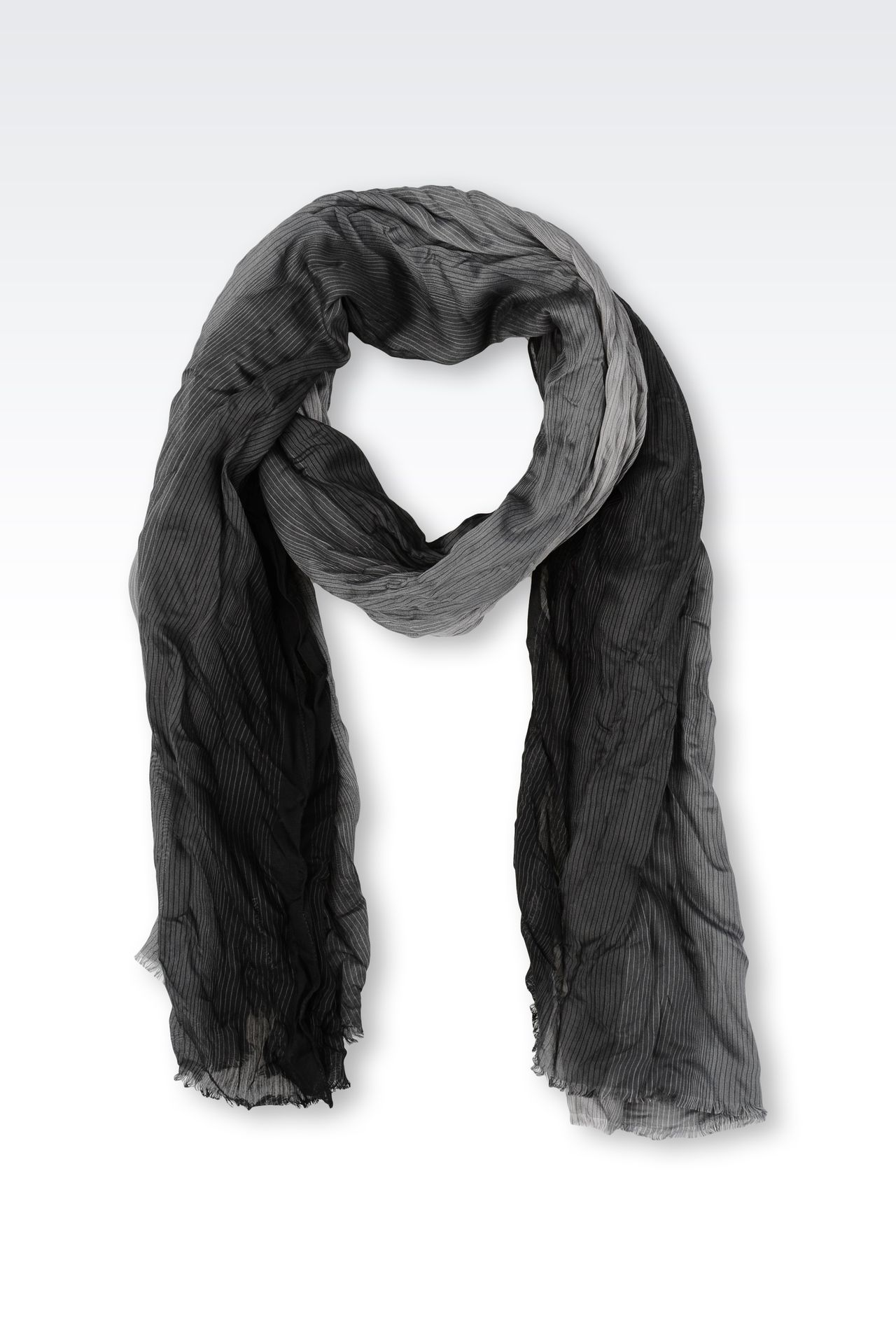 STRIPED VISCOSE STOLE: Scarves Men by Armani - 0