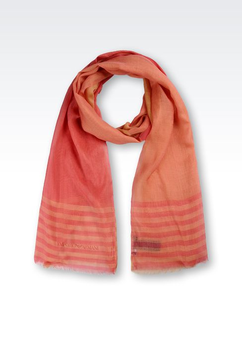 STRIPED STOLE IN WOOL AND SILK: Stoles Women by Armani - 1