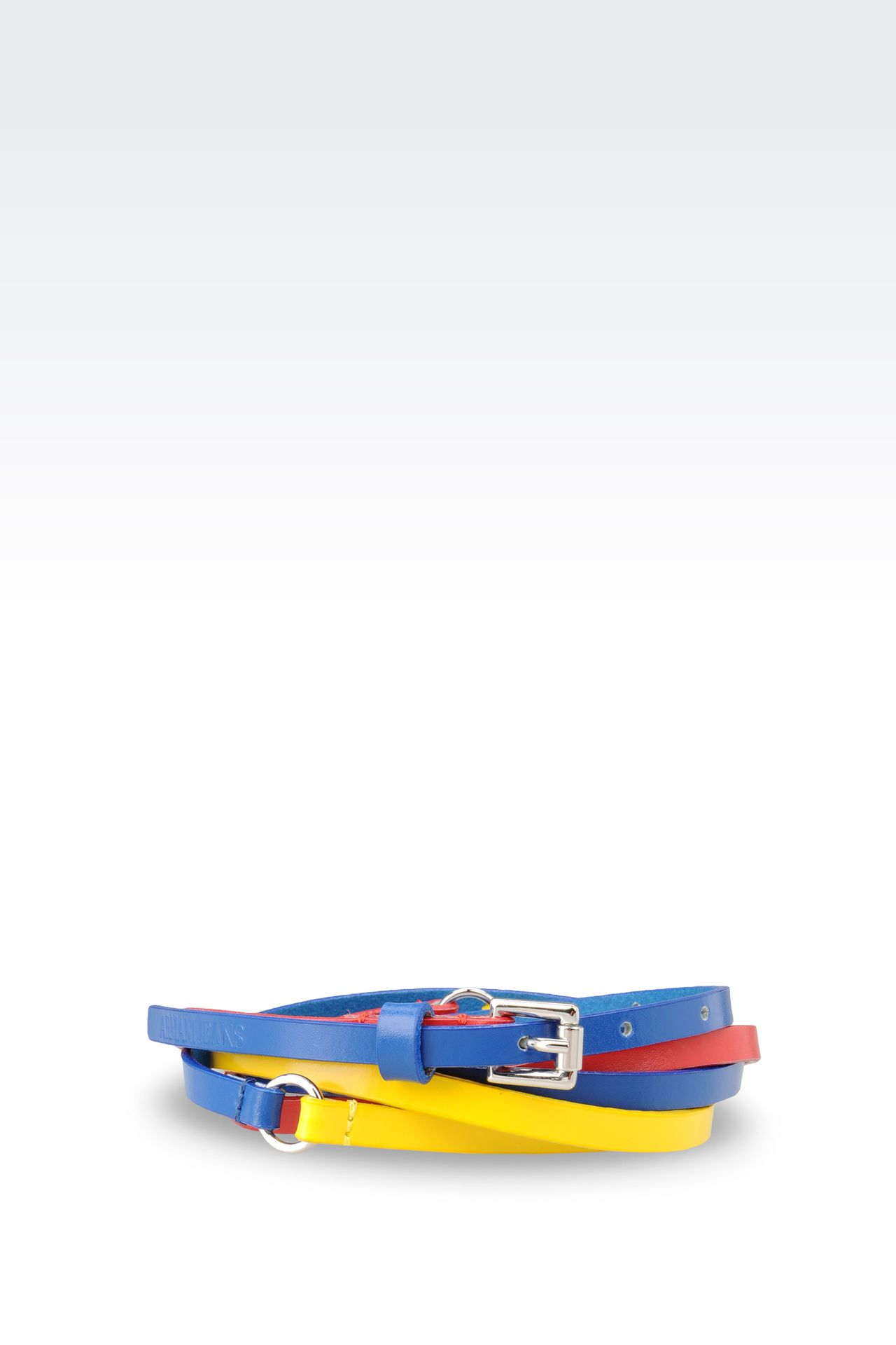 THREE-THREAD BELT IN MULTI-COLOUR LEATHER: Textile belts Women by Armani - 0